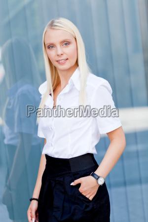 young successful businesswoman in summer outdoor