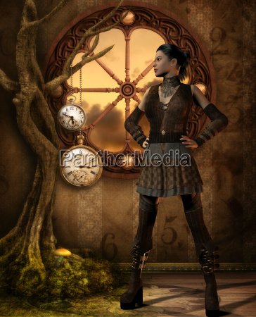 girl in steampunk outfit