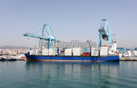 container ship in the industrial port