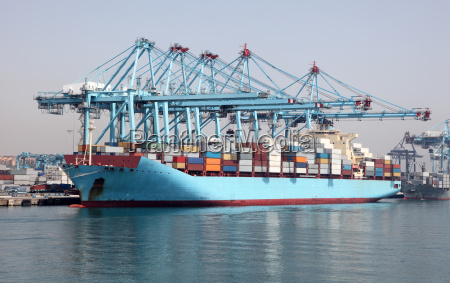 big container ship in the industrial