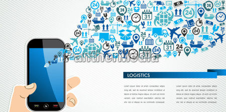 shipping logistics mobile human hand icons