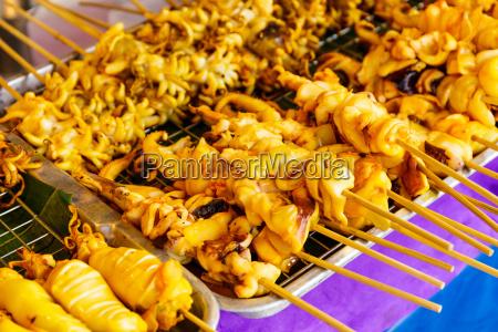 thai style roasted stick on street