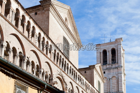 detail of facade of ferrara cathedral
