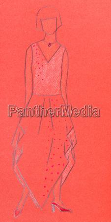 red sketch of woman knitwear
