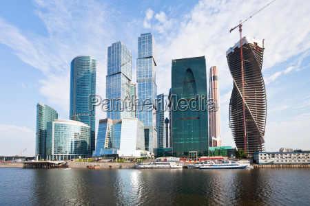 the moscow city skyline in summer