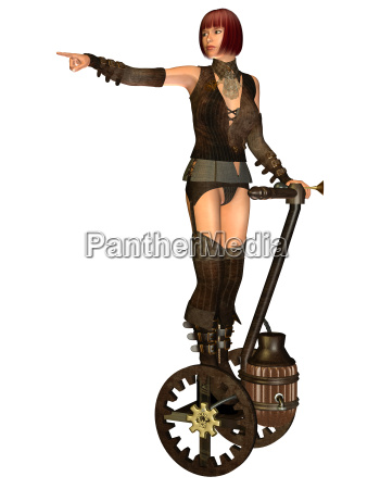 steampunk girl on a transporter