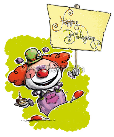 clown holding a happy birthday placard