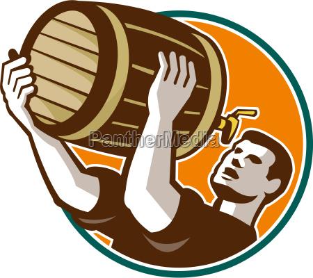 bartender pouring drinking keg barrel beer