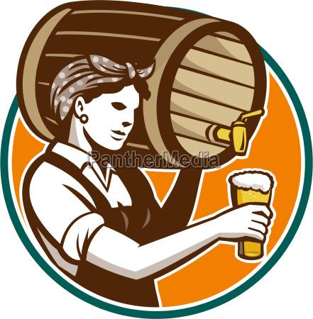 woman bartender pouring keg barrel beer