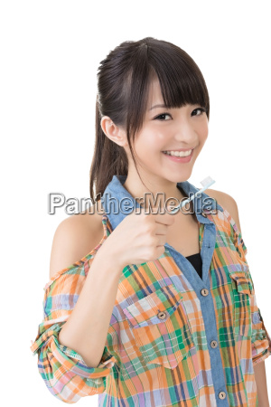asian woman with toothbrush