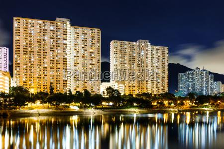 illuminated building in hong kong at