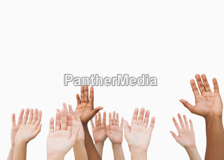 hands raising in the air