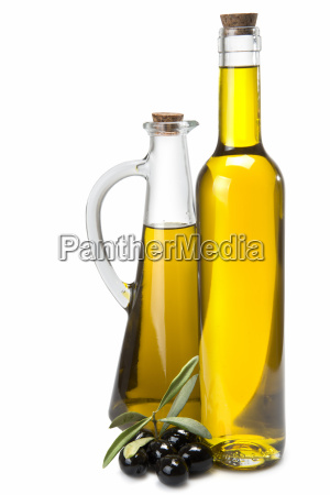 jar and bottle with olive oil