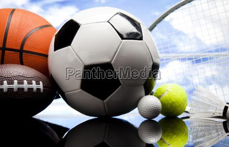 four sport a lot of balls