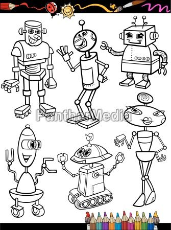 robots cartoon set for coloring book
