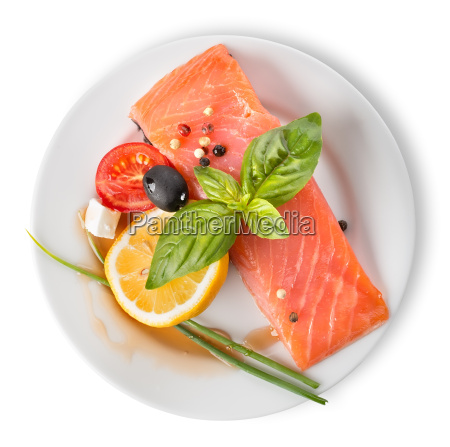 red fish fillet with vegetables