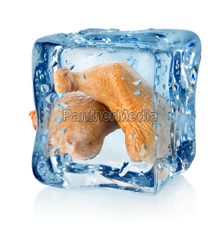 smoked chicken legs in ice cube