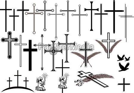 crosses and other symbols of mourning