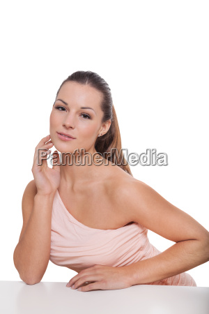 laughing young attractive woman portrait makeup