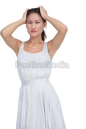 doubtful woman looking at camera