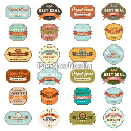 set of vintage retro labels
