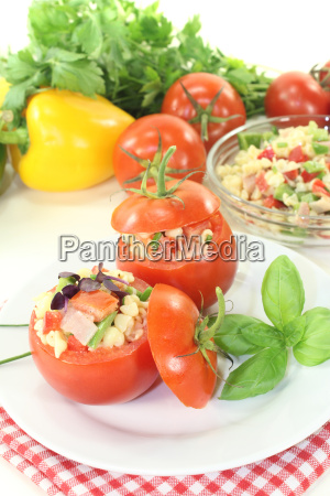 stuffed tomatoes with noodle salad