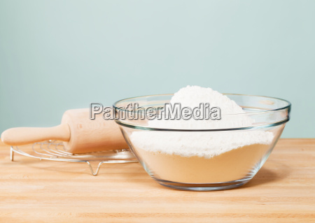 flour in a bowl with pasta