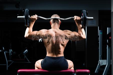 man in fitness in studio on