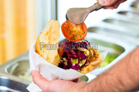 kebab hot doner with fresh ingredients