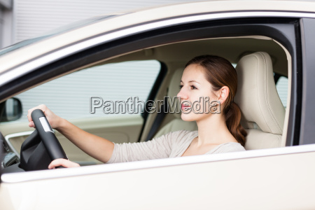 pretty, young, woman, driving, her, new - 10005218