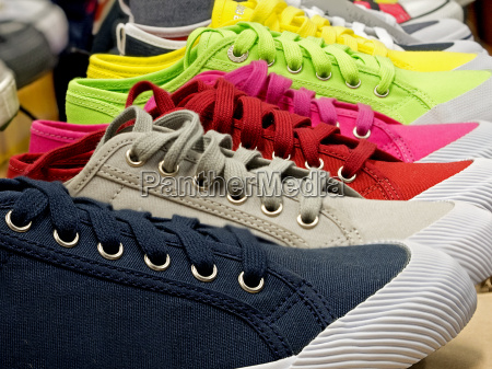 colored sports shoes rubber and canvas