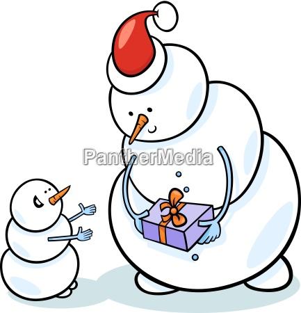 christmas snowmen cartoon illustration