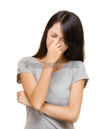 asian woman with allergic nose