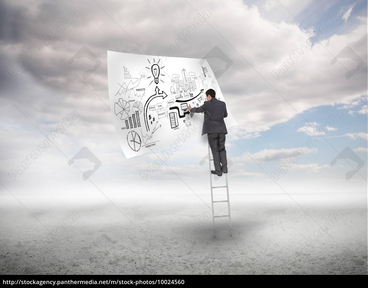 businessman, on, a, ladder, sketching, on - 10024560