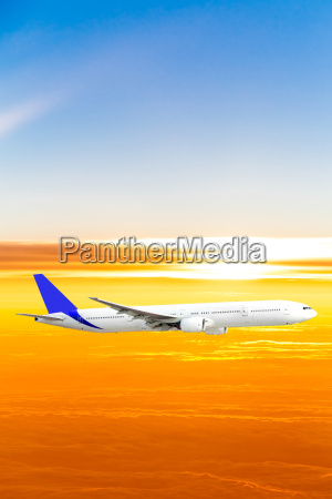 airplane, in, the, sky, at, sunset. - 10026402
