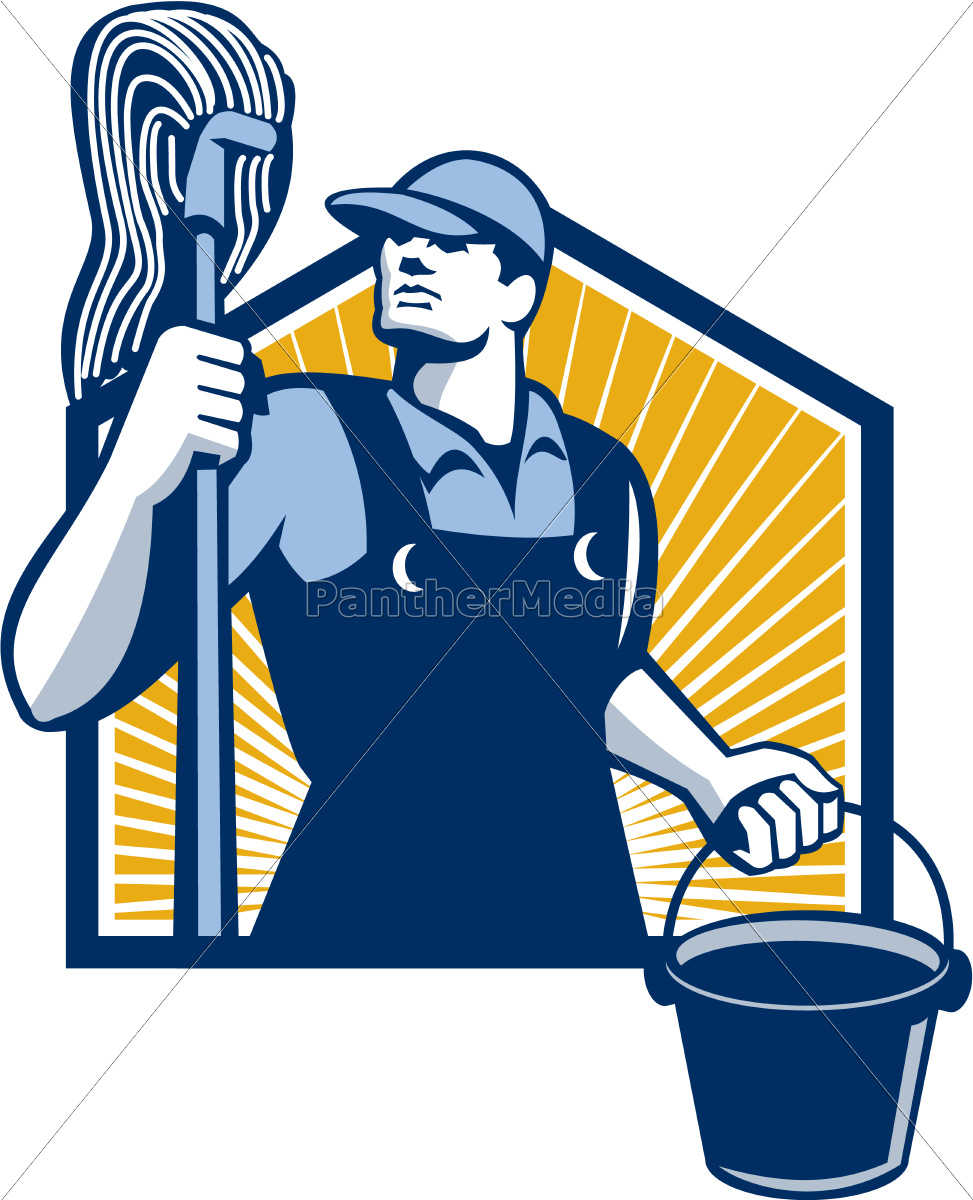 janitor, cleaner, holding, mop, bucket, retro - 10032086