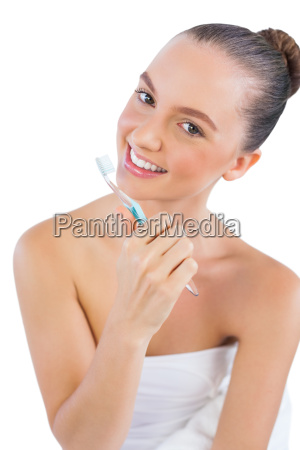 cheerful, young, woman, with, toothbrush - 10038104