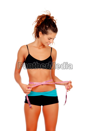 slim, brunette, girl, with, tape, measure - 10038730