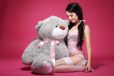 birthday., sensual, girl, with, teddy, bear - 10039076