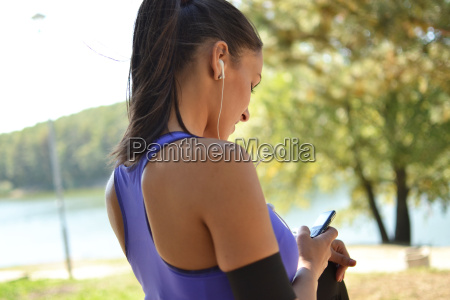 beautiful fitness woman resting in the