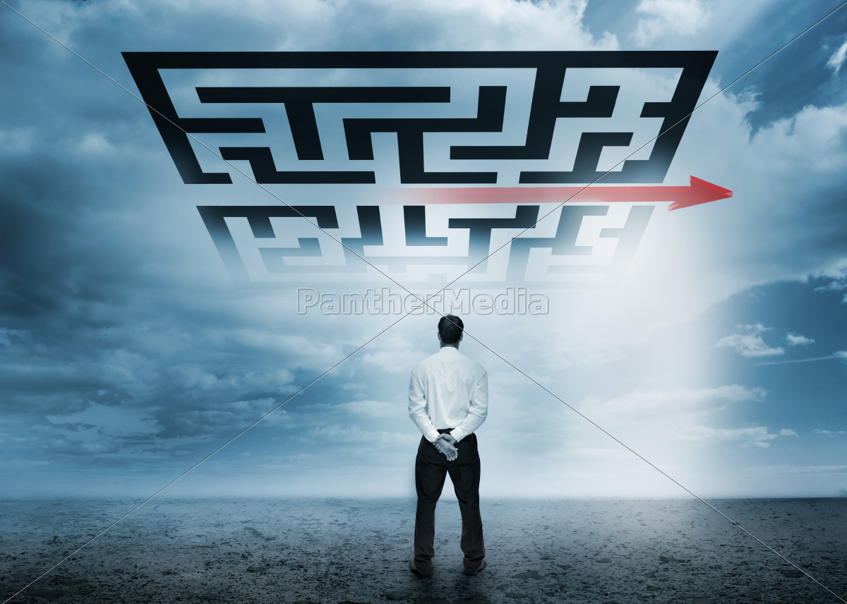 businessman, looking, at, giant, qr, code - 10040036