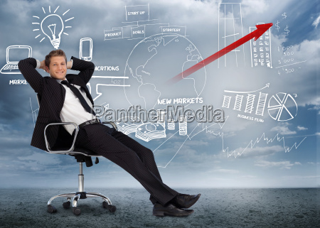 confident, businessman, reclining, in, swivel, chair - 10040028