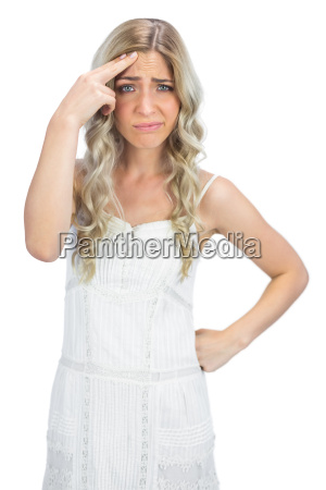 thinking, blonde, having, interrogative, posture - 10041038