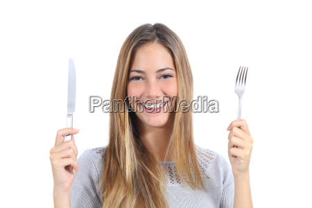 beautiful, woman, holding, a, fork, and - 10043554