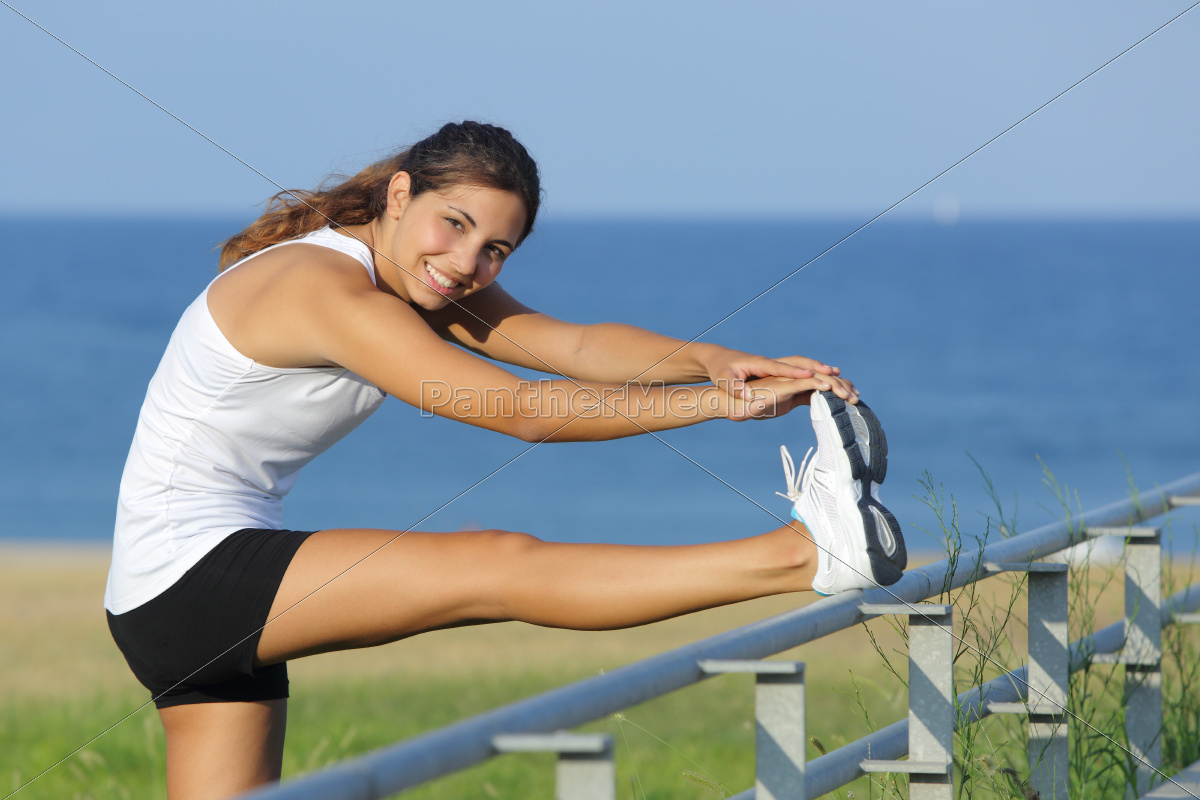 beautiful, woman, stretching, legs, looking, at - 10043614