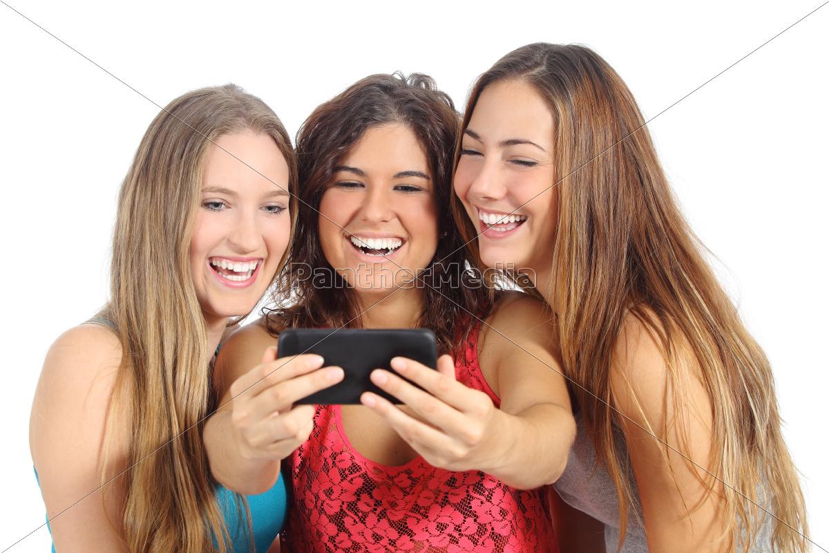 group, of, three, teenager, girls, laughing - 10043686