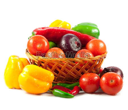 fresh vegetables in basket isolated on