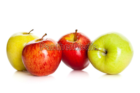 fresh colorful apples isolated on white