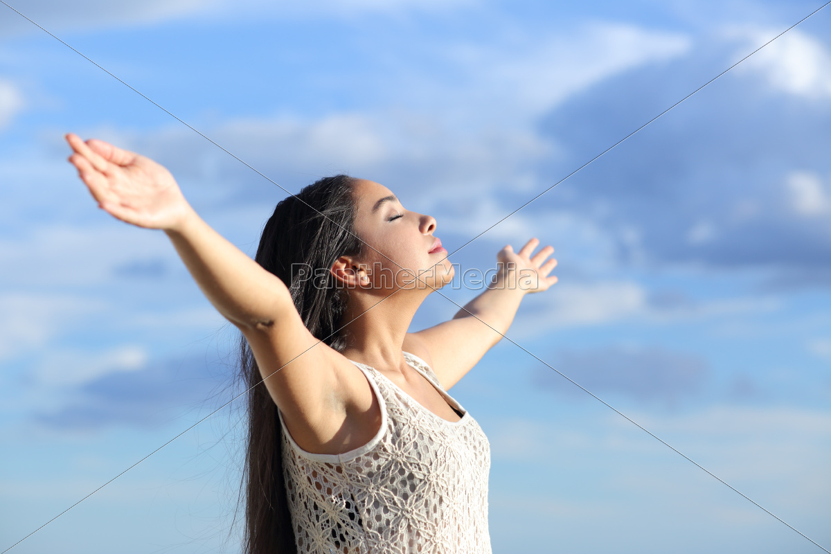 beautiful, arab, woman, breathing, fresh, air - 10055906