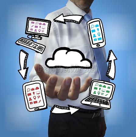 classy businessman holding cloud computing drawings